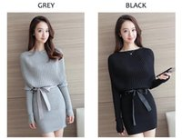 Wholesale Grey Black Sweater Dress - Batwing Sleeve Sweater Dress 2017 Women Grey Black O Neck Self Bow Tie Knit Dresses Fall Fashion Sexy Mini Shift Dress