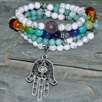 Wholesale SN0288 Protection Mala Beads Bracelet Yoga Necklace Japa Hamsa Natural Stone Jewelry Chakra Wrap Jewelry