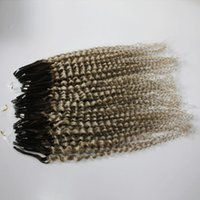 Wholesale Extension Hair Curly Micro - Curly Micro Ring Hair Extensions Real Human Ombre Color Curly Loop Hair 6A Grade 1B Gray Mirco Loop Hair 20'' 0.5g s Epacket