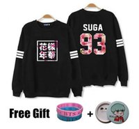 Wholesale Bts Kpop - Kpop bts hoodies for men women bangtan boys album floral letter printed fans supportive o neck sweatshirt plus size tracksuits