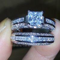Wholesale Topaz Ring Princess Cut - Size 5 6 7 8 9 10 Princess Cut 10k white gold filled white Topaz Wedding Ring set gift