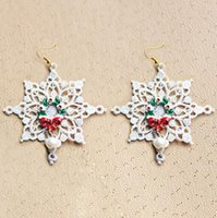 Hot Christmas Tree White Snowflake Designer Earings Dangle Chandelier bon marché en Chine Jewelry Bling For Women Girls Fashion Charm