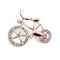 Wholesale Vintage Web - Web brooch bicycle brooch metal bike shape golden brooches vintage Jewelry Imitation Pearl Brooch unisex Dress Scarf Accessories