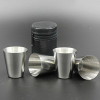 Wholesale Tea Sets Camping - 4pcs Set Stainless Steel Cover Mug Sets Camping Cup Mug Drinking Coffee Tea Beer With Case Travel Holiday Picnic Cup 30ML 70ML 180ML WX-C49