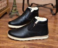erkekler için en sıcak ayakkabılar toptan satış-Kış erkek kar Sıcak Yuvarlak Toes Ayak Bileği Çizmeler çizmeler Kar Botları Süet deri ayakkabı Orta çizme Rahat ayakkabılar Kalınlaşma erkek Ayakkabıları
