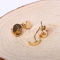 Wholesale Wholesale Shell Discs - Disc stud earring fashion Carol Bijou jewelry in gold-tone vermail gold plating front-back brass metal