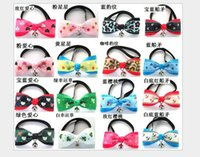 Wholesale Large Bell Decorations - Fashion Pet Dog Neck Tie Cat Dogs Bow Ties Bells Headdress Adjustable Collars Leashes Apparel Christmas Decorations Ornaments Dog New style