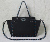 Wholesale Genuine Gems Beads - must have~ w332 genuine leather 4 colors gem shopping tote bag luxury designer v black red nude ice blue 32*50*27*12cm 26*39*20*10cm