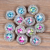 Wholesale Diy Jewellery Accessories - Alloy Crystal 18mm Noosa Interchangeable Snap Buttons fit DIY Kinds of Noosa Earrings Necklace Rings Bracelet Butterfly Jewellery Accessory