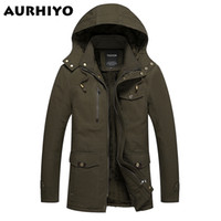 Wholesale Military Jacket Liner - Fall-Winter Warm Men's Jackets Parkas Military Coats Thick Fur Wool Liner Long Jacket Mens Cotton Hoodie Men Famous Brand