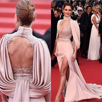 Wholesale Chiffon Tiered Gown Jacket - Fashion Free Shipping 2016 Slit Front Red Carpet Mermaid Backless Celebrity Dresses Sexy Evening Prom Gowns Pageant Dresses Custom Made