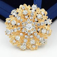 Wholesale Clear Rhinestone Flower Broach - Stunning Clear Crystals Flower Gold Alloy Wedding Bridal Bouquet Pins Brooches Luxury Women Party Pins Broaches High Quality