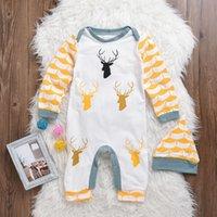 Wholesale Boy Christmas Clothes - Hot Baby Newborn Infant Romper Christmas Deer Printed Long Sleeve Jumpsuit Kids Boys Girl Playsuit Hat 2pcs Clothing Casual Cotton Set 0-24M