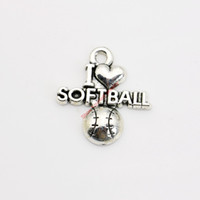 Wholesale Made Love Silver Charm - 20pcs Antique Silver Plated I Love Softball Charm Pendants for Bracelet Necklace Jewelry Making DIY Handmade Craft 20x20mm