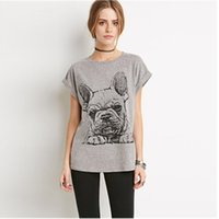 Wholesale T Shirt Easy - Sweet Cartoon Tops Interesting French Bulldog Print T-shirt Easy Leisure All-match T-shirt