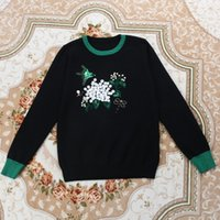 Wholesale Crochet Flower S - 2016 High Quality Autumn Black White Flower Petal Embroidery Bird Sequins Long Sleeves Women's Sweaters Celebrity Pullovers 100801
