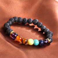 Wholesale Energy Beads Bracelet - Hot selling Unisex chakra energy bracelets natural lava stone bracelets 8mm colorful beads bracelets free shipping