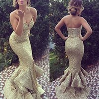 Wholesale Simple Black Cocktail Dress Designs - 2016 Handsome Gold Sequined Mermaid Long Prom Party Dresses Evening Wear Cascading Ruffles Skirt Sexy Neck Zipper Design Real Image