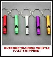 Wholesale Small Survival Whistle - 300Aluminum Alloy Outdoor Survival Training Whistle For training dogs campaign mountaineering exploring Random Colors,6.2x11cm free shipping