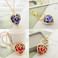 Wholesale High End Jewelry Wholesale - 2016 New High-end Fashion Jewelry Legend of Zelda Inspired Crystal Necklace Built-in Red and Blue Heart-shaped Crystal Hollow Gold Pendants