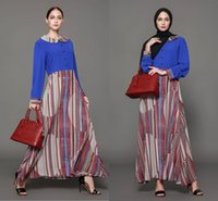 Wholesale Muslim Dresses Females - 2018 New Middle East Women Long Casual Dresses Fashion Long Sleeves Plus Size Maxi Dress Muslim Female Clothing FS2500