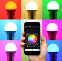 müzik çalar uygulaması toptan satış-LIXADA Akıllı Bluetooth Hoparlör Ile Led Ampul Lamba E27 Baz Kablosuz Müzik Çalar Ses Kutusu Aydınlatma Blubs APP Tarafından Kontrol