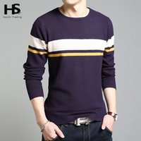 Wholesale Wool Shirt 4xl - Wholesale-HS 2016 New Arrival Warm Cashmere Sweater Shirt Wool Pullover Coat Men O-Neck Pull Homme Famous Brand Dress Sweaters S- 4XL 6649