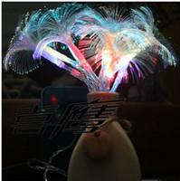 luces de cadena de fibra óptica al por mayor-Free shipping2.5M10LED Morning Glory Fiber Optic Batería LED String Strip Night Light Lámpara Party Holiday NAVIDAD BODAS Cortina LED Light