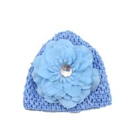 Wholesale Stretch Hair Clips - Newest 1piece Soft Stretch Crochet Baby Hats for baby girls Peony Flowers NO Clips Baby Cap Children Hair Accessories HA0373