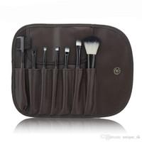 sacos de lã venda por atacado-Mini ferramentas de Maquiagem Jogo de Pincel de Maquiagem Portátil Kit de Higiene Pessoal Marca de Lã Make Up Brush Set 7 pcs em um conjunto com Saco PU