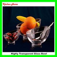 Wholesale Glass Fruit Bowls - High level crystal glass bowl trasparent ice cream bowl salad bowl mixing bowl creative bowl fruit bowl