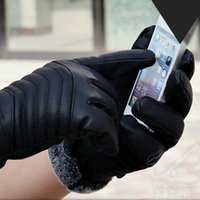 Wholesale Typing Mittens - Fashion New Men PU Leather Warm Gloves Sports Leather Touch Screen Gloves Winter Gloves 4 Types Free Size