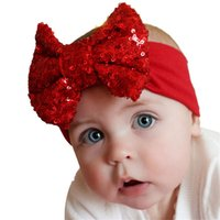 Wholesale Cute Babies Children Photo - Wholesale- Modern Elastic Children Baby Girl Headband Cute Sequins Bow Hair Accessories Birthday Party Family Photo Aug12