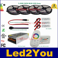 Wholesale Amplifier Wiring Kit Wholesale - DC 12V RGB LED Strip SMD 5050 Waterproof IP65 tape 10m 15m 20m + RF Remote controller + Power adapter + Amplifier Kit