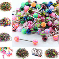 Wholesale Tongue Ring Ball Nose - 316L Surgical Stainless Steel+Acrylic Ball Punk Bar Body Jewelry Piercing Eyebrow Navel Belly Barbells Tongue Lip Nose Rings Unisex Mixed