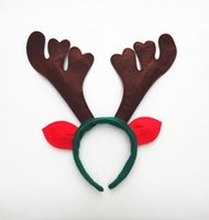 Wholesale Reindeer Antlers Hat - Christmas Reindeer Headband Cosplay Decoration Ornaments Red Reindeer Antler Headband Santa Hat Head Accessory for Christmas Day