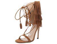 Wholesale Brown Women Shoes Sandals - Sumemr Women Sandals Open Toe Cross Tied Stiletto Heel Women Shoes Tassel Hollow Out Fashion Flock Women Sandals Size 35-40