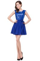 Wholesale Cheap Sexy Dresses For Juniors - Under $50 Cheap Chiffon Homecoming Dresses 2016 Mini Short Royal Blue Party Dresses for Juniors 8th Grade Graduation Gowns with Sash CPS349