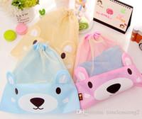Wholesale Wholesale Clothes Bundles - Backpack bag Drawstring backpack Bundle pocket Lovely gawk bear pattern Travel clothes underwear receive bag grid drawstring backpack