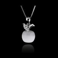 weißer katzenaugenanhänger großhandel-Charming Opal White 925 Sterling Silber Apfelform Cat Eye Stein Anhänger Hochzeit Geburtstagsgeschenk