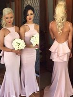 Hellrosa Meerjungfrau Brautjungfer Kleid Langes Juwel Drooped Taille Niedrige Backless Satin Trauzeugin Kleider Weiße Frauen Hochzeit Formal Gowns