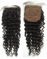 Wholesale Closure Silk Top - 4x4 Bleached Knots Silk Base Closure With Baby Hair Unprocessed Human Hair Peruvian Deep Wave Silk Top Closure G-EASY