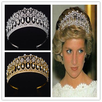 Princess Diana Crown Tiara Wedding Bridal Crystal Rhinestone Fascia Accessori per i capelli Pearl Headpiece Gioielli Argento Gold Prom Headdress
