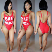 Wholesale Red Sexy One Piece Swimsuit - Sexy Women One-Piece Swimsuit BAE WATCH Print Open Back Bodysuit Plus Size Swimwear High Waist Bathing Suit Monokini Red