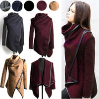 Wholesale Ladies Wool Blend Coats - 2016 Fall Winter Clothes for Women New European and American Wool & Blends Coats Ladies Trim Personality Asymmetric Rules Short Jacket Coats
