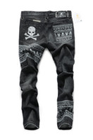 Wholesale Black Embroidered Coat - Wholesale- free shipping The new high-end custom embroidered skull mastermind japan MMJ Patchwork tide brand men's jeans
