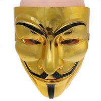 Halloween Masquerade Carnival Costume Party Supplies Whimsy Mask Accessories Клоуны Пластиковая маска (V для Vendetta Gold)