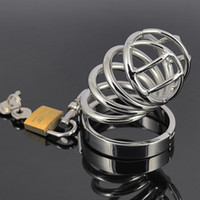 Wholesale Bondage Penis Restraint - Chastity Device Metal Chastity Cage Stainless Steel Cock Cage Male Chastity Belt Penis Rings Bondage Restraints Sex Toys For Men