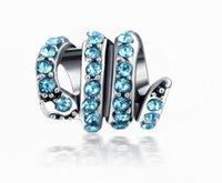 ingrosso perline in cristallo argentato-Adatto per Pandora Bracciali 30pcs Crystal Snake Spacer Argento Charms Bead Branelli di fascino per gioielli fai-da-te europei in argento