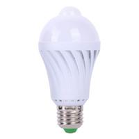 Wholesale 5w Infrared - Wholesale- 1pcs PIR Motion Sensor Lamp 5W Led E27 Bulb Auto Smart Led PIR Infrared Body Lamp with the Motion Sensor Lights